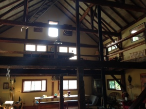 Inside the spacious, roomy, high ceiling loft-like barnhouse