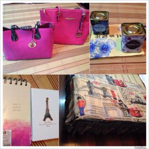 Purchases: Michael Kors & Dior handbags; Tea; Paris notebooks; London scarf